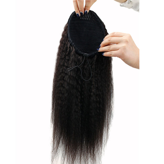"Eseewigs pelo humano recto rizado extensiones de cola de caballo Clip en pelo brasileño Remy moño cordón Color Natural 22 ""para mujeres"