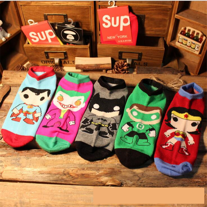 Cartoon  Ankle Socks Superhero SpiderMan Flash Joker Superman Wonder Woman Cotton Socks Colorful Breathable Casual Sock