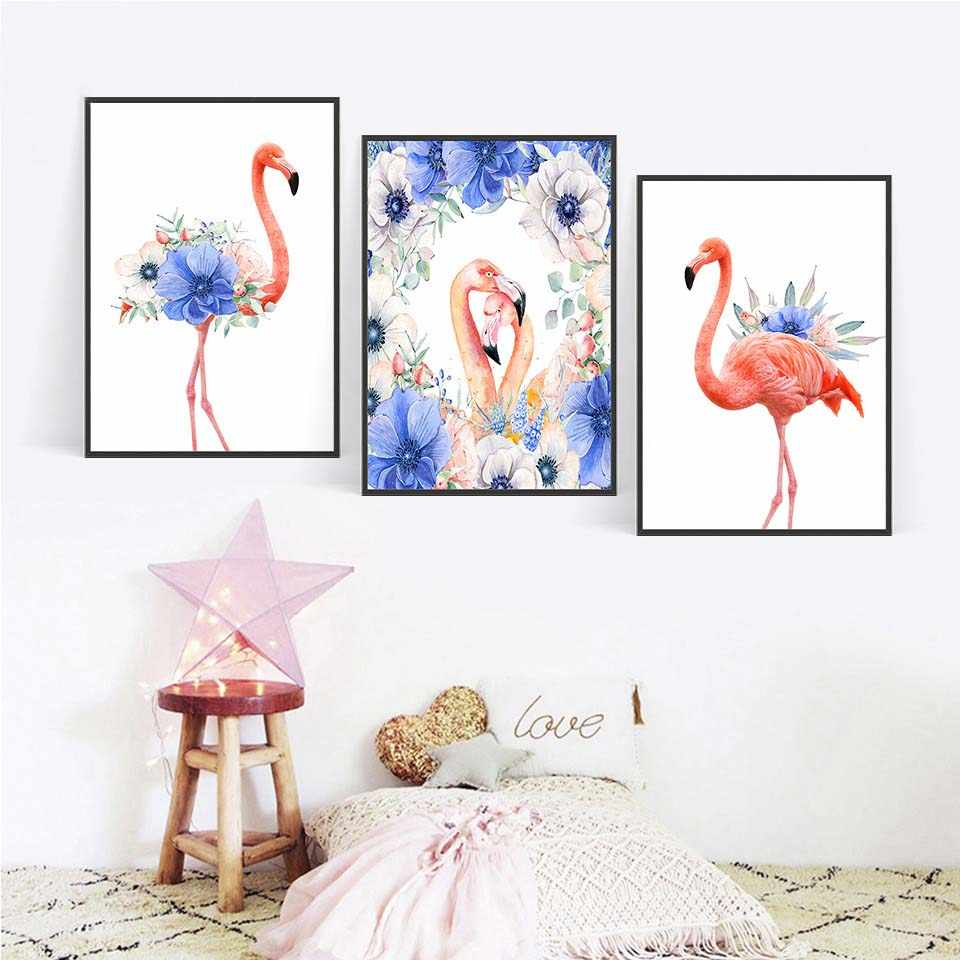 Nordic Poster Vintage Flowers Flamingos Canvas Painting Retro A4 Art Hd Print Abstract Wall Pictures Kids Room Home Decoration