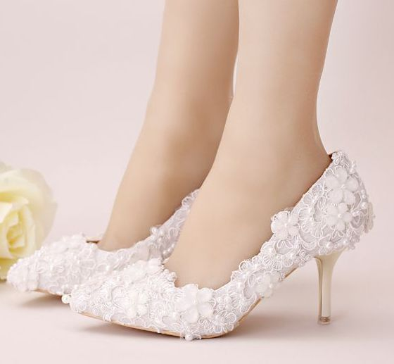 ФОТО White lace pumps shoes for woman female sexy point toes thin high heels lace pearls bridal shoes female lace party shoes TG813