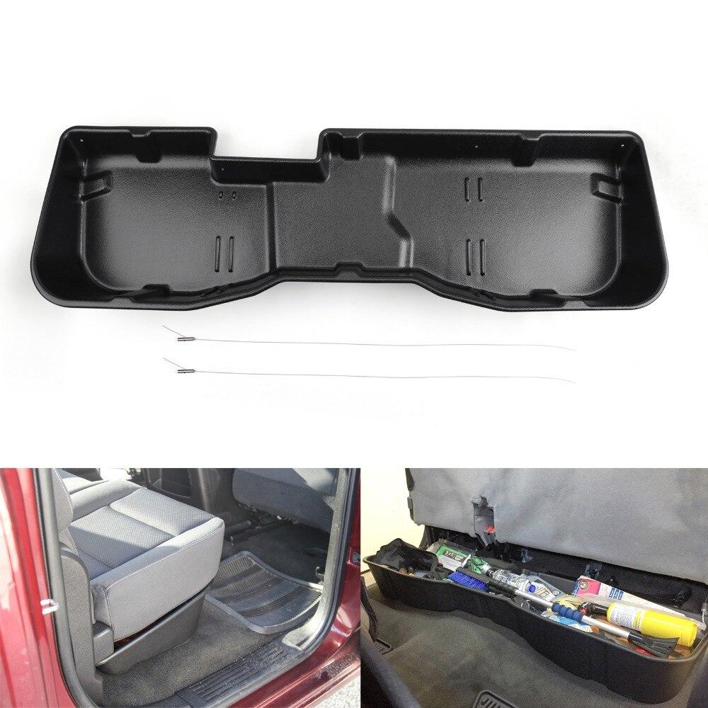 Areyourshop Car Under Seat Storage Box Black For Chevy Silverado for Sierra CREW CAB 2007 2018