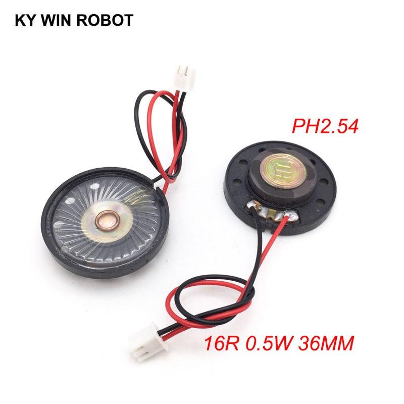 2pcs/lot New Ultra-thin Toy-car Horn 16 Ohms 0.5 Watt 0.5W 16R Speaker Diameter 36MM 3.6CM With PH2.54 Terminal Wire Length 10CM
