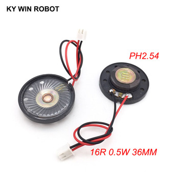 2pcs/lot New Ultra-thin Toy-car horn 16 ohms 0.5 watt 0.5W 16R speaker Diameter 36MM 3.6CM with PH2.54 terminal wire length 10CM image