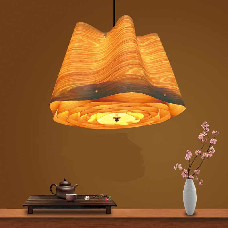Southeast Asian style Pendant Lights veneer creative personality living room lamps corridor lobby decorated wooden lamp LU817356 oversized living room 36 inch shell lamps rich natural mediterranean flower garden hotel lobby lights pendant lights wwy 0363