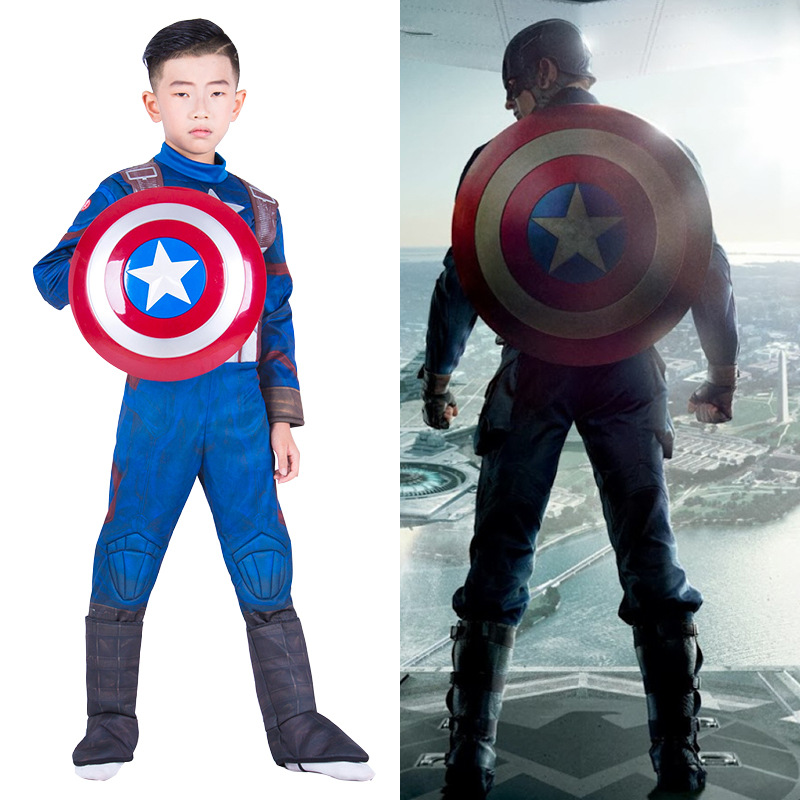 movie Captain America uniform clothing mask cosplay costume children full body suits kids carnival Halloween costumes Shield