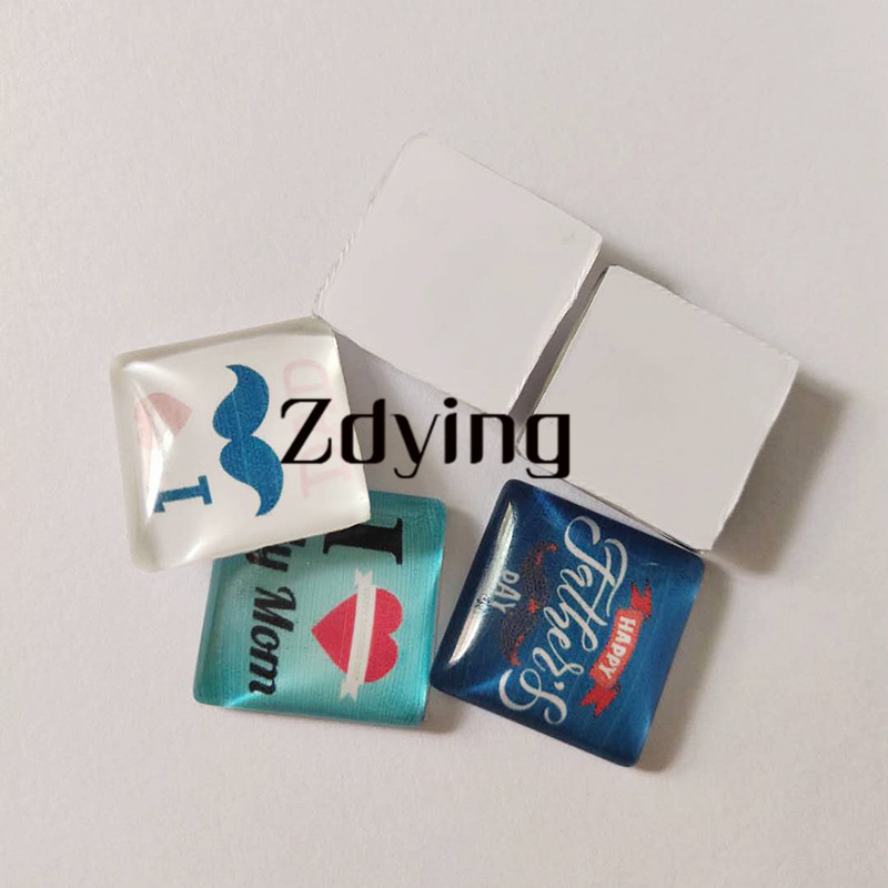ZDYING 5pcs/lot Guitar violin Drum Piano Music instrument Silhouette Square  Shape Glass Cabochon Demo Flat Back Making Findings