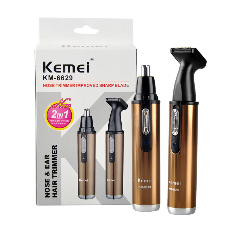 Kemei KM-6629 Fashion Electric Shaving 2 In 1 Nose Hair Trimmer Safe Face Care Shaving Trimmer For Nose Trimer For Man And Woman