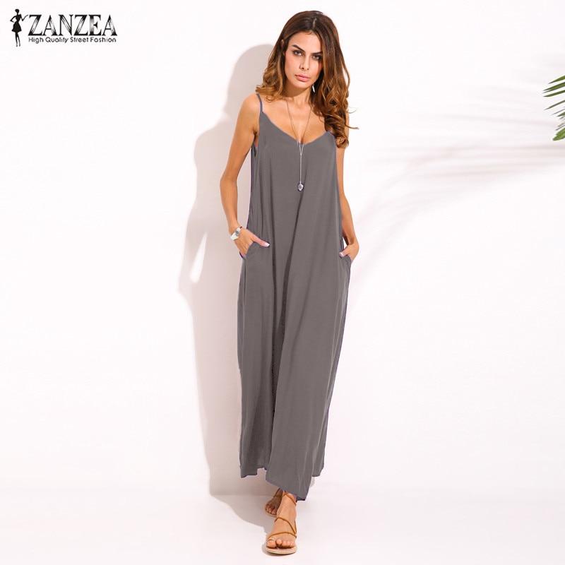 Zanzea 2018 Summer Style Women Boho Strapless Sexy V Neck Sleeveless Dress Casual Loose Long Maxi Solid Dress Vestidos Plus Size