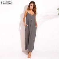 Zanzea 2016 Summer Style Women Boho Strapless Sexy V Neck Sleeveless Dress Casual Loose Long Maxi