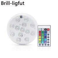 10 светодио дный LED Дистанционное управление RGB погружной свет батарея работает подводный ночник открытый ваза чаша вечерние украшение