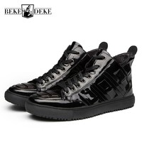 Fashion Pu Leather Mens Casual High Top Shoes Retro Patent Leather New Winter Ankle Boots Lace