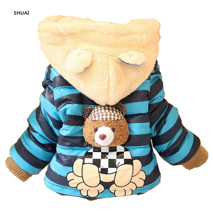CNJiaYun Baby Boys Jacket Cartoon Bear Baby Keeping Warm Cotton Kids Hoodies Winter Boys Coat Children Outerwear Kids Clothing