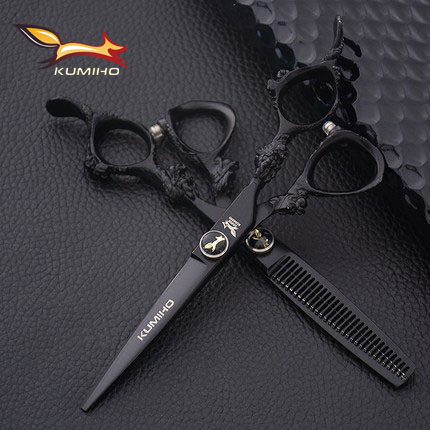 KUMIHO 6inch black hair scissors with dragon handle hair shear and thinning scissors Japan 440C titanium coated free shipping