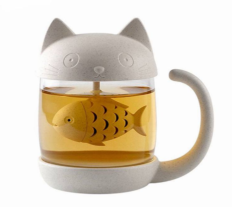 Cat Glass Tea Mug Cup with Fish Tea Infuser Strainer Filter 250ML (White)