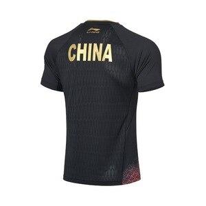 Image 5 - Li ning hombres de la serie de tenis de mesa traje de competición Equipo Nacional Sponsor en seco transpirable forro deportes camisetas AAYP081 CAMJ19
