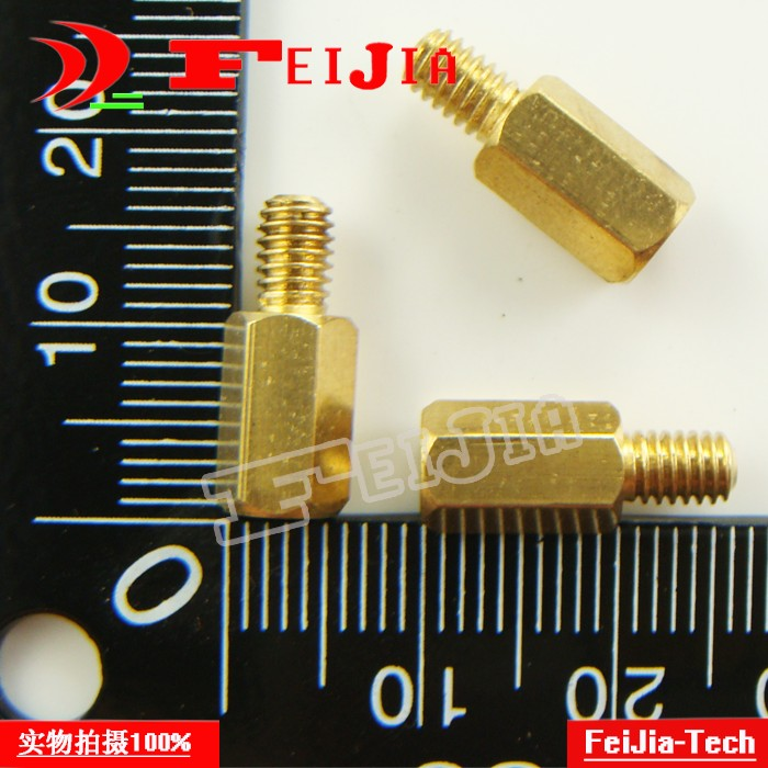 Free shipping 10PCS/LOT M4*10+6mm single head hexagonal copper pillars interval columns Brass Hardware Fasteners Bolts