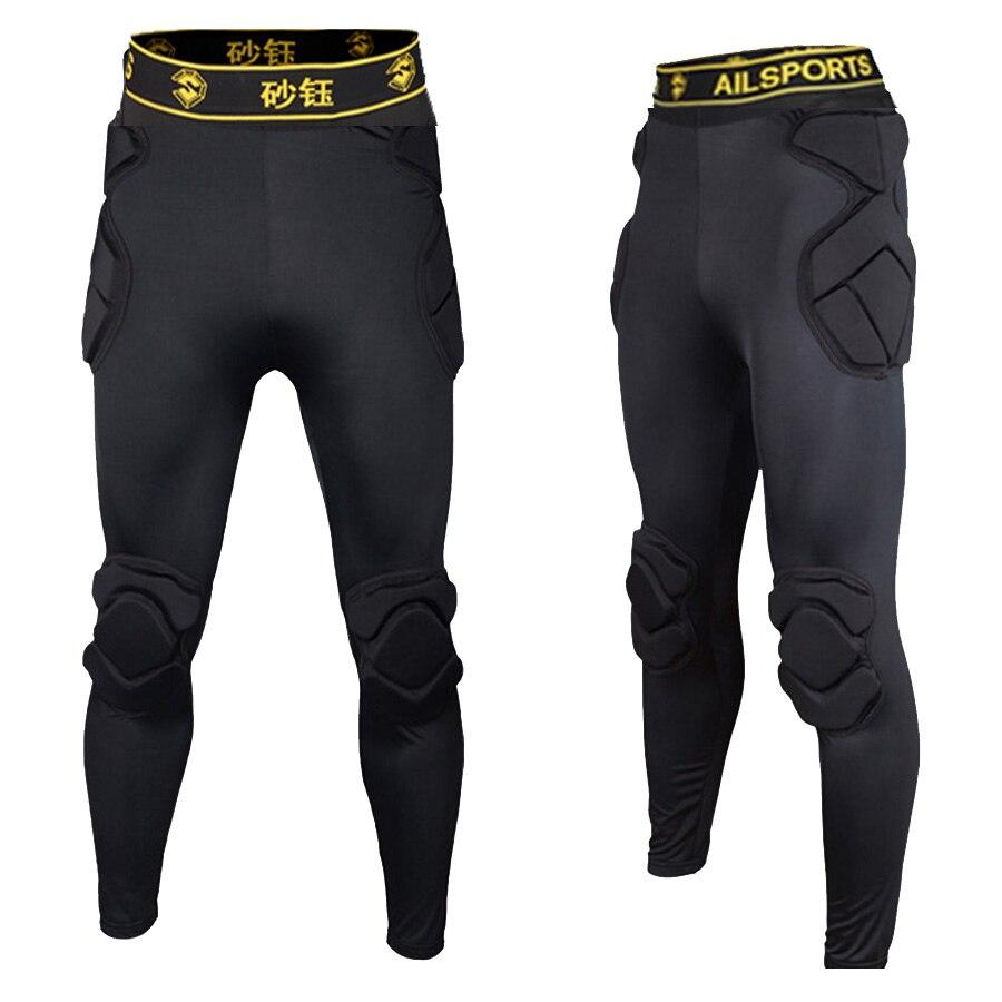 899617396dee2 Hombres Rugby pantalones portero entrenamiento EVA esponja fútbol pantalones  cojín de cadera rodillera protección Sweatpants respirable en Pantalones de  ...
