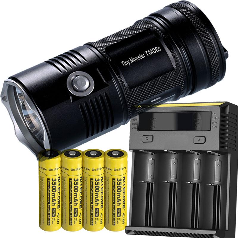 Search Flashlight <font><b>NITECORE</b></font> TM06S CREE XM-L2 U3 LED max. 4000 lumen beam distance 359M + 4 * 3500mAh batteries + New <font><b>I4</b></font> <font><b>Charger</b></font>