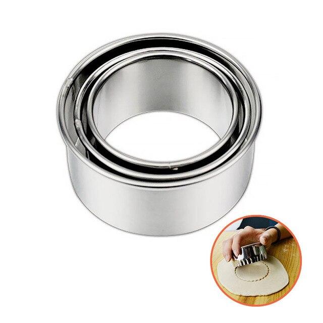3PCS/Set Stainless Steel Dumpling Wrappers Maker Diameter 6/7/8cm Round Lace Shape Cake Mould Egg Mold Dough Cutter