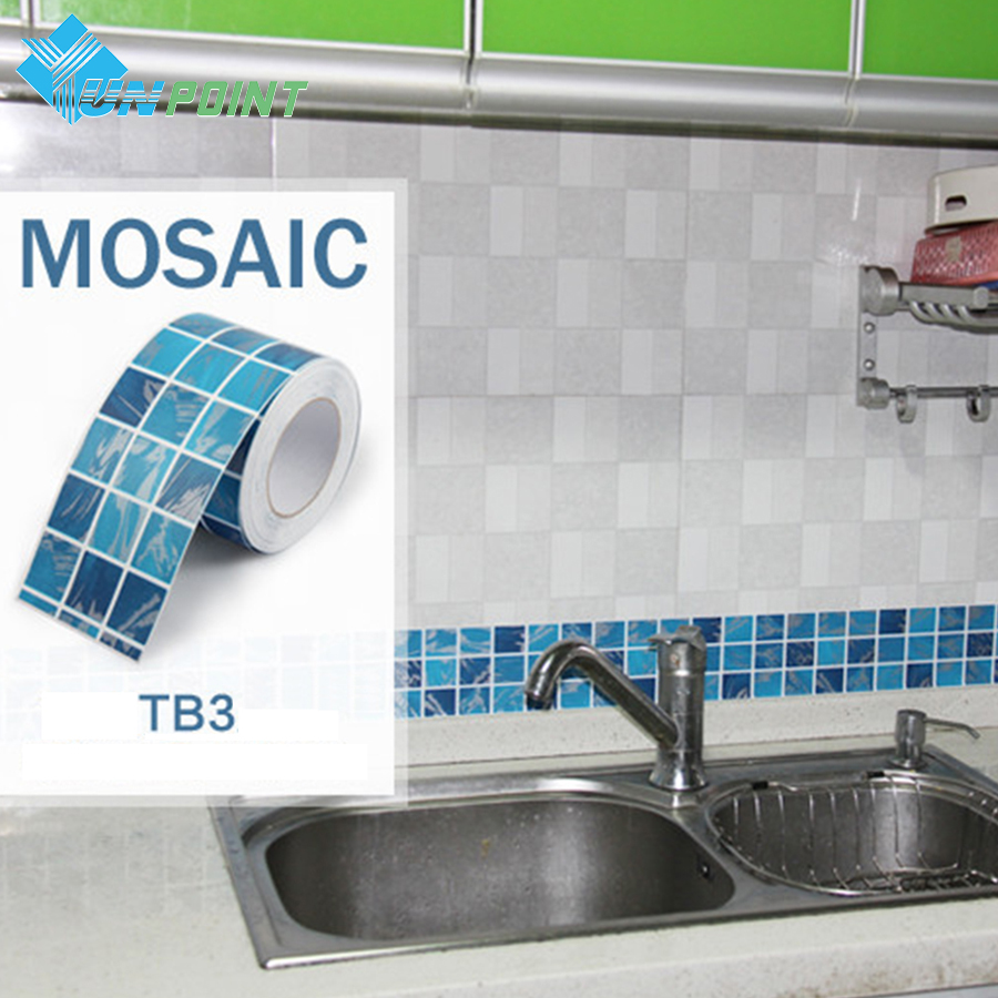 10x500cm mosaic wall sticker kitchen art decal pvc self adhesive wallpaper roll bathroom tile waterproof wallpapers