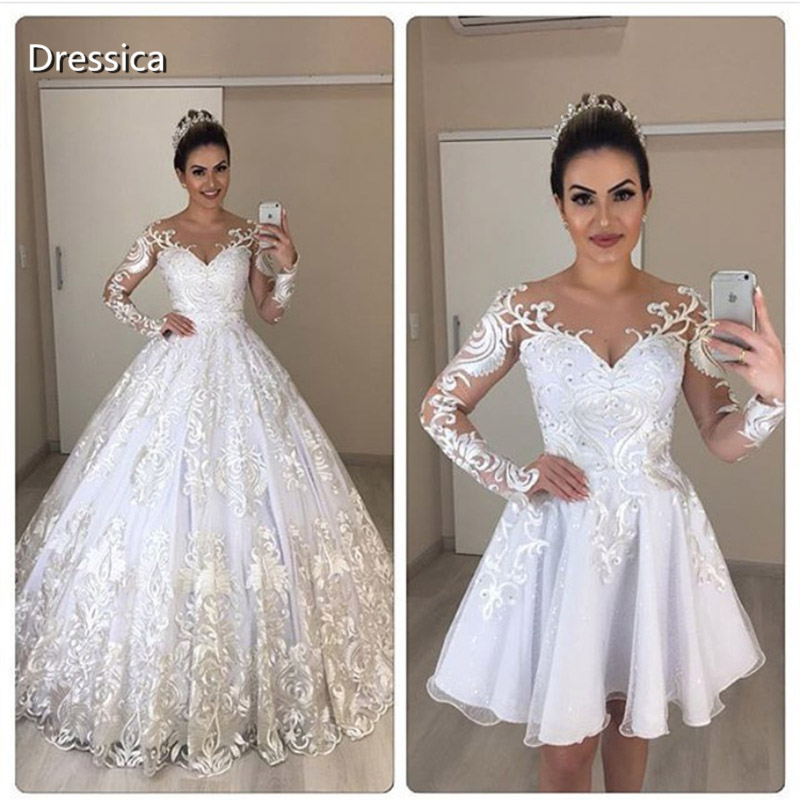 Long Sleeve Two Piece Wedding Dress With Detachable Skirt Short