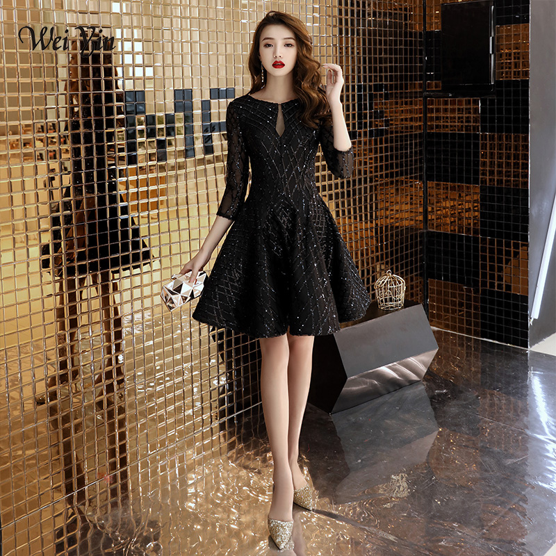 weiyin Black Sequins Cocktail Dresses 2019 New Arrival Sexy A line Spaghetti Party Gown Bodycon Vestido Coctel Corto WY1347