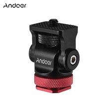 Andoer mini bola giratória 180 °, adaptador de montagem de sapato de flash quente com chave para dslr câmera microfone monitor de vídeo tripé com tripé
