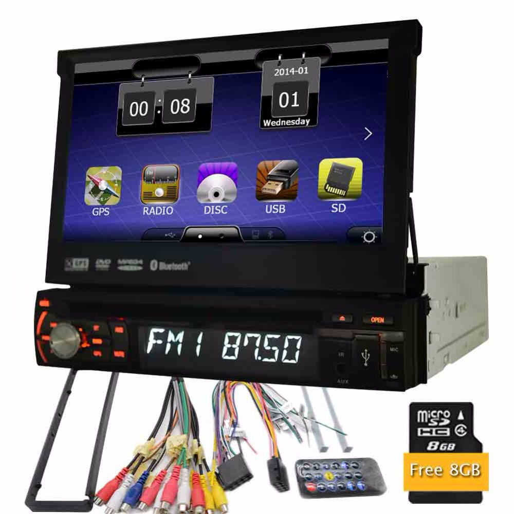 7 WCE Car DVD Player GPS de Navegação 1 Din Painel Frontal Destacável Universal In-dash Rádio Auto Estéreo de Áudio sem Função de TV