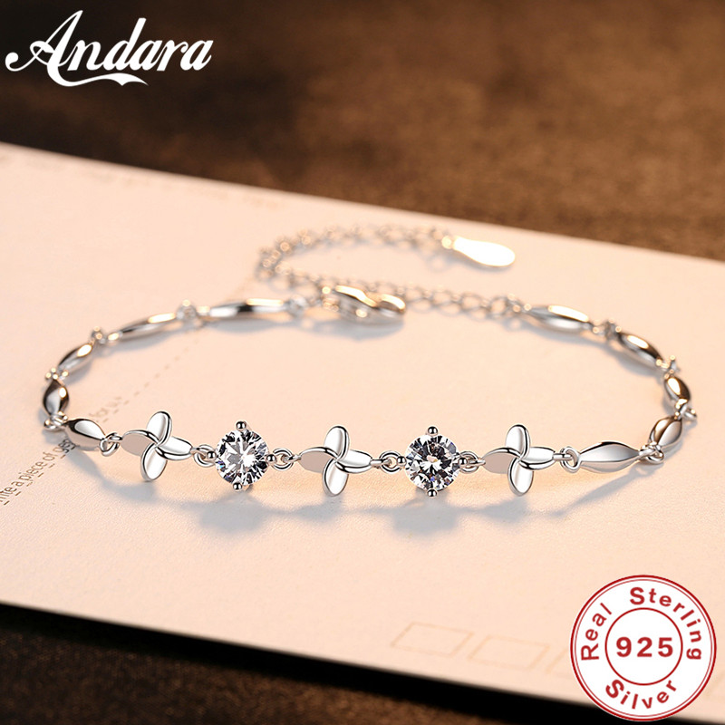 Genuine S925 Sterling Silver Clover Bracelet AAA Zircon <font><b>Crystal</b></font> Exquisite Woman Bracelet Jewelry image