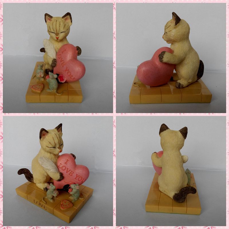 Free shipping Cat and Mouse I Love You Figures Resin toy vivid lifelike cute pet cake home office car decor party Lovers gifts