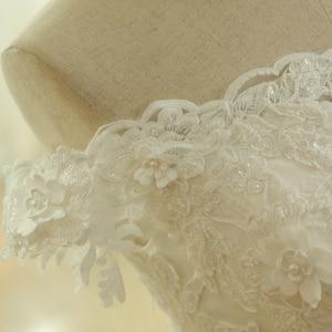 Image 5 - SL 536 di Modo A Buon Mercato Fuori Dalla Spalla Manica Corta Perline Pizzo Applique Da Sposa Abito Da Sposa matrimonio vestido longo