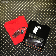 Black/Red Car Hotline Vetements T-Shirt 2019 Men Cotton Jersey Vetements T-shirt Rib knit crewneck Collar Logo Graphic Print Tee cross wrap front rib knit bardot tee