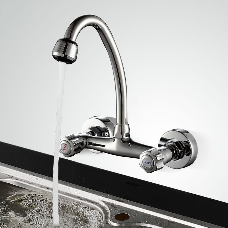 jooe chrome kitchen faucet hot and cold mixer water tap brass Wall Mounted kitchen tap torneira