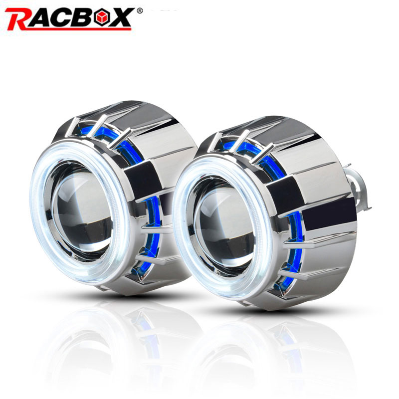 RACBOX Pair 3 inch H1 HID Bi Xenon Projector Lens with White Red Blue Angel Eye CCFL Styling Headlight For Automobile Motorcycle kt headlight for honda goldwing gl1800 2001 2017 led angel eye blue demon eye motorcycle hid projector assembly 15 14 13 12 11