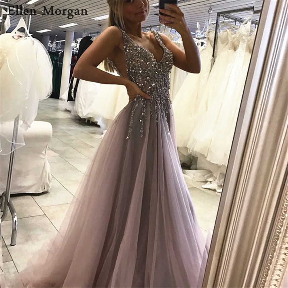 Sexy V-neck Backless Long   Prom     Dresses   for African Black Girls 2019 Stones Beads Vestido De Festa Evening Party Gowns