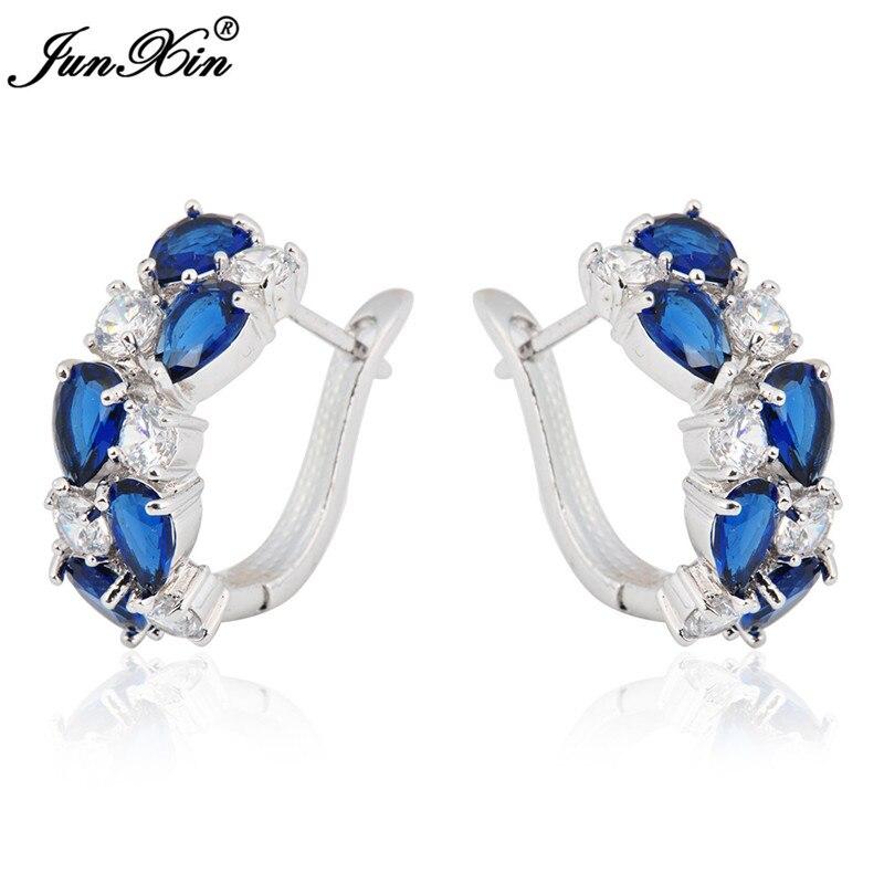 JUNXIN 90 OFF! Female Multicolor Zircon Big Round Circle Hoop Earrings For Women Blue/Green/Pink Hook Earrings Boho Gold Jewelry