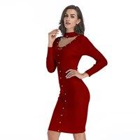 YYFS Free Shipping Women Spring Mid Long Rivet Full Sleeve Pencil Sweater Dress Knee Length Halter