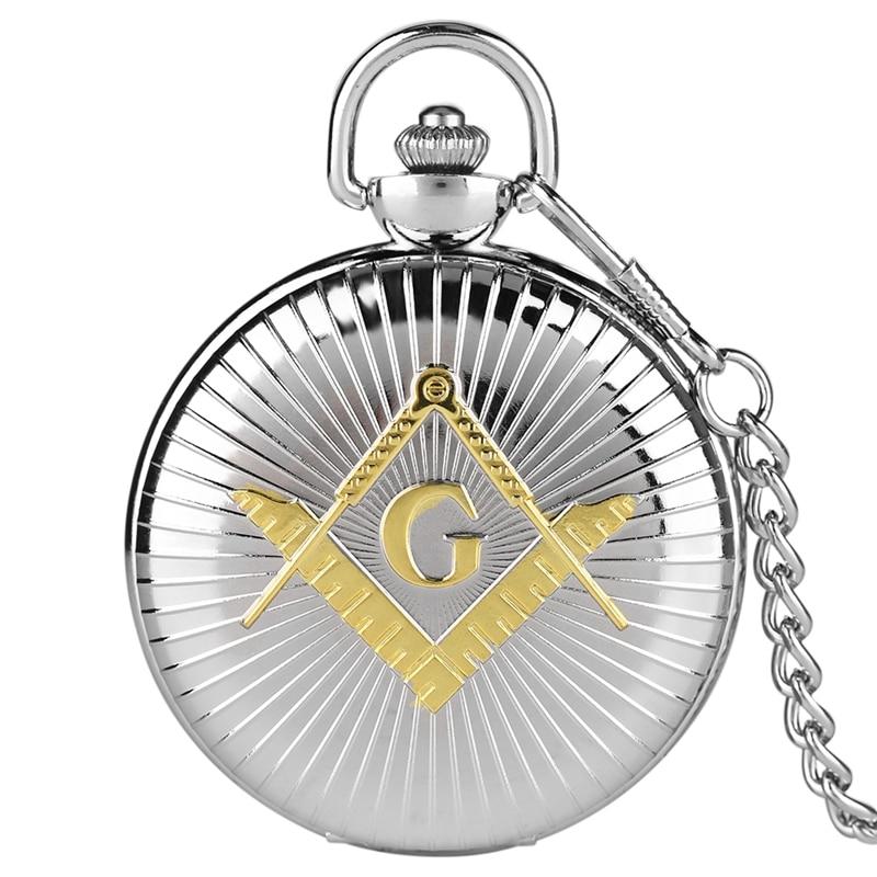 Top Luxury Big G Masonic Freemason Freemasonry Theme Alloy Quartz Fob Pocket Watch With 30cm Chain Men Gifts Relojes De Bolsillo