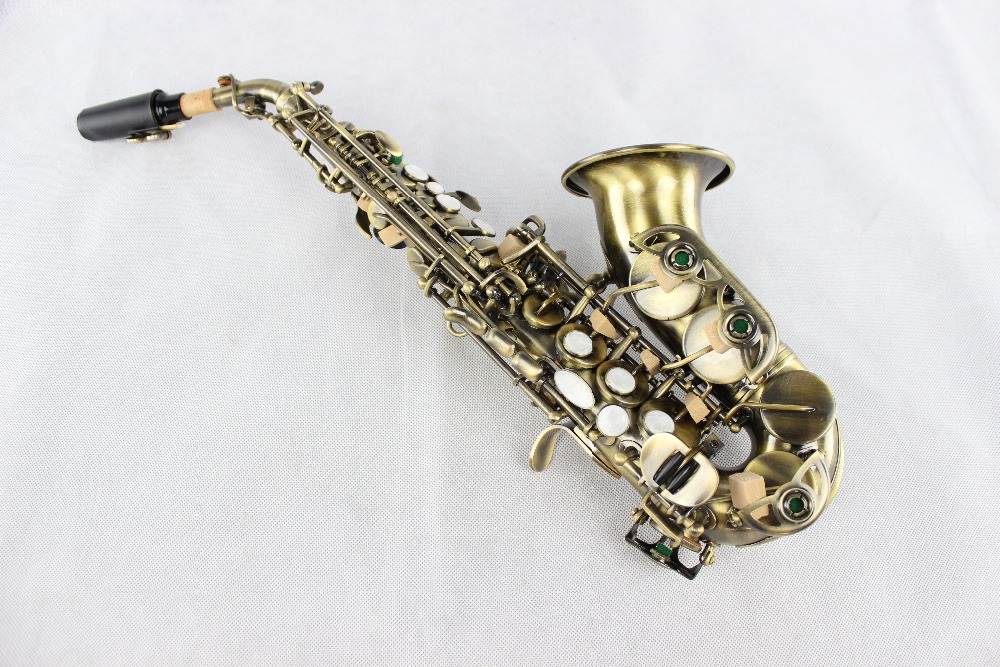 Small Bend R54 Soprano Saxophone in B Flat Antique Copper Simulation Musical Instruments Saxophone Sax High Quality Saxofone new soprano saxophone yss 475 b flat electrophoresis gold top musical instruments sax soprano professional grade free shipping