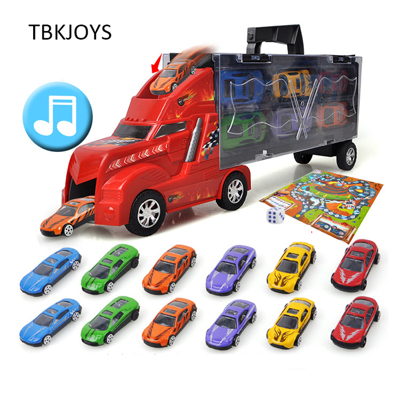 36CM Metal Alloy Diecast Car Kids Toys Collection Brinquedos Car Light And Music Cargo Truck Toys For Boys Girls Model Casting