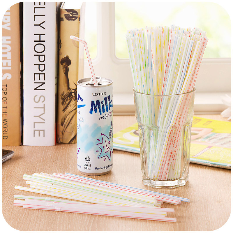 Disposable bending color Straw are packed 100 pieces to drink tea Soybean Milk pregnant confinement necessary K4367