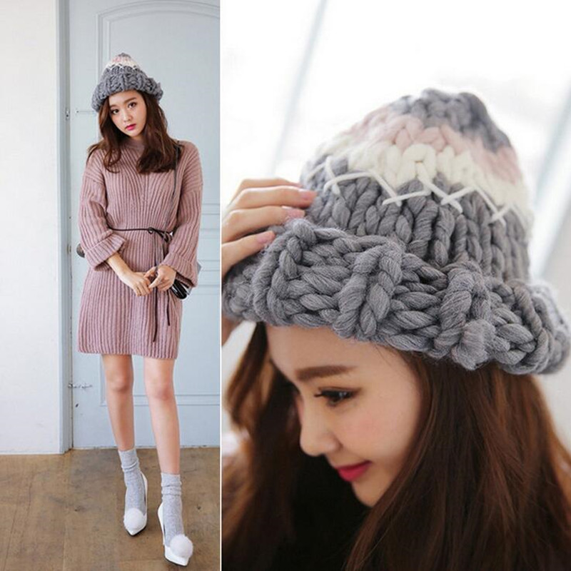 2017Women's Knitted Cap Winter Hats Handmade Twist Thick Warm Coarse Lines Hat Gift  Fast delivery skullies new arrival warm winter female knitted hat hedging interior plus fluff lines thick line twist cap cute hat 1866934