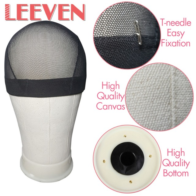 Leeven Beige Canvas Block Head for Making Head Weft/Wig/Hair Extension Style Styling Manequin Manikin Canvas Head Free gifts