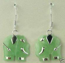 Boucle d'oreille en forme d'éléphant, bijou vert sculpté, livraison gratuite
