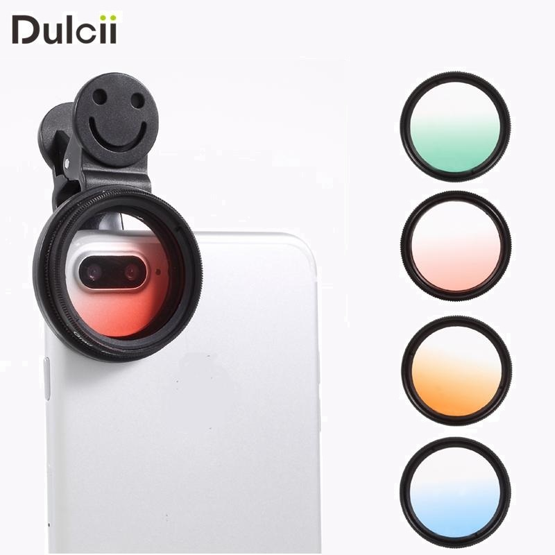 DULCII 4Pcs Filters Universal 37mm Filter Lens Kit Clip for iPhone 7 Samsung S8 Red Green Orange Blue for Smartphone Camera