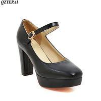 QZYERAI Spring of 2018 youthful vigor high heel thick heel single shoe rubber sole anti slip high heels black size 34 43