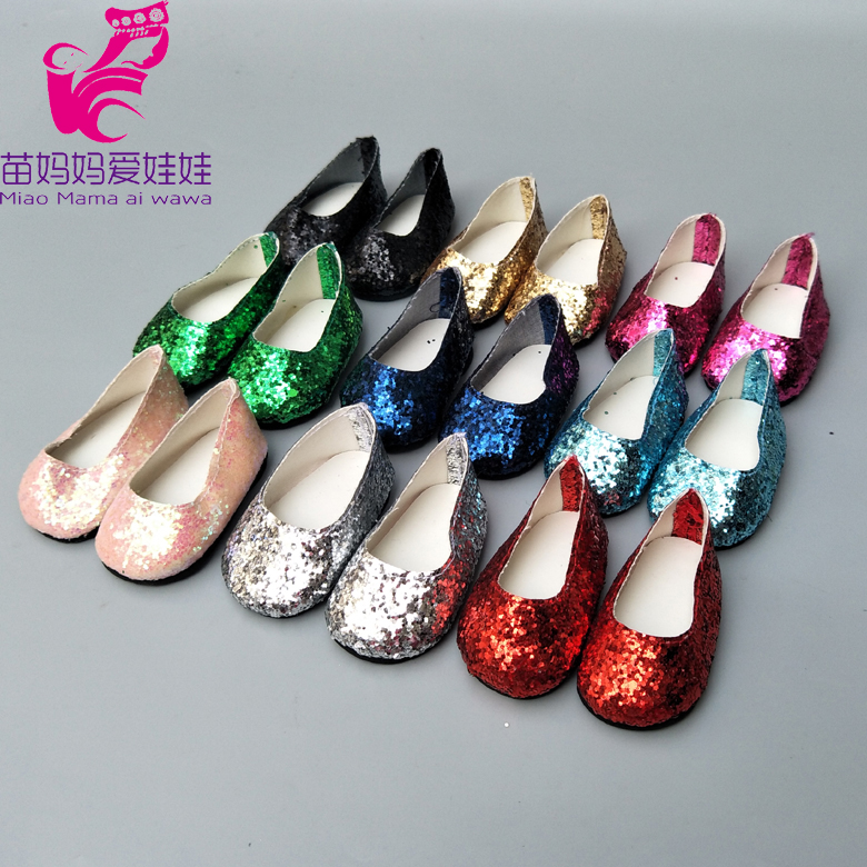 7cm Doll Shoes For Born Baby Doll Single Shoes Fits For 18 Inch Girl Doll Sequin Shoes Doll Accessories