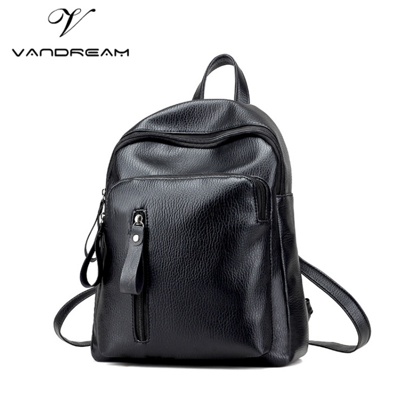 2017 Fashion Women Leather Backpack Simple Solid Black Laptop School Bags for Teenagers Girls Preppy Hand bag Travel Daypacks purple flowers printed dream teenagers backpack fresh preppy adorable sthdents school bags fashion travel hiking computer bag