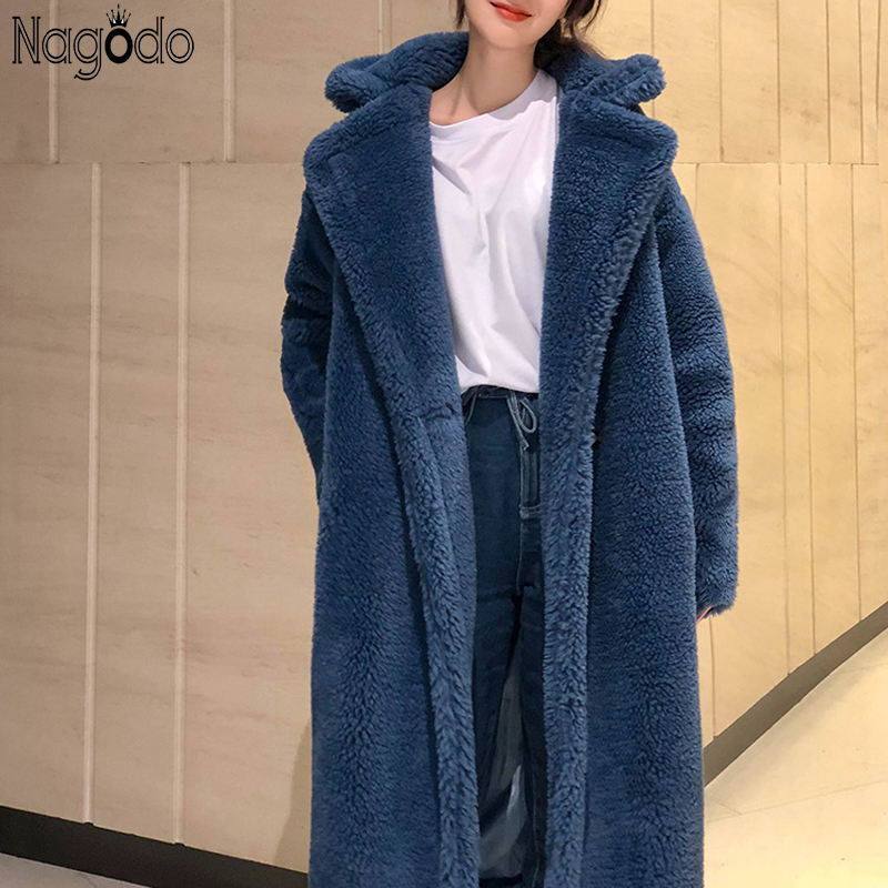 Casual Épais Fourrure Manteau Long Coat Coat En D'agneau