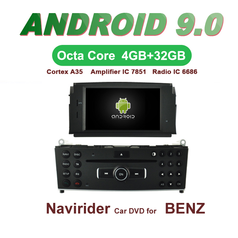 Navirider GPS <font><b>Android</b></font> 9.0 bluetooth stereo 4-Core 8-Core car DVD player for BENZ <font><b>W204</b></font> C200 head unit <font><b>autoradio</b></font> accessories image